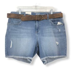 Style & Co. NWT Jean Shorts Cutoffs Raw Hem Belt